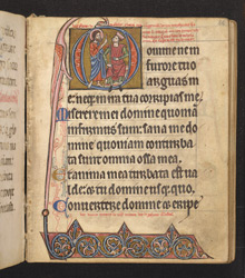 Historiated Initial With Nathan The prophet Rebuking King David, In 'The De Brailes Hours'